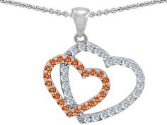 Star K Heart Shaped Simulated Orange Sapphire And Cubic Zirconia Pendant Necklace
