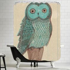 FREE SHIPPING! Shop AllModern for Americanflat Owl Monotone Shower Curtain - Great Deals on all  products with the best selection to choose from!