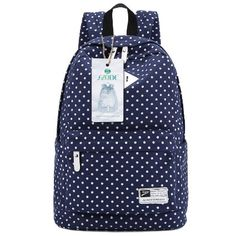 "S-ZONE Lightweight Polka Dot Canvas Backpack 13""-15"" Laptop PC…"