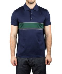 Prada Men\u0027S Jersey Sport Pima Cotton Slim Fit Polo Shirt Navy Blue\u0027