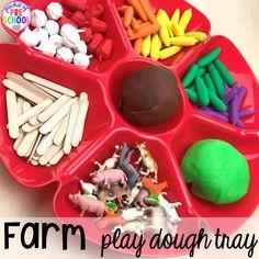 Farm play dough tray plus tons of farm themed art, sensory, and fine motor activities for preschool & pre-k. #farmtheme #preschool #pre-k #pocketofpreschool