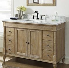 Fairmont Designs Rustic Chic Weathered Oak Bathroom Vanity 48 x x 48 Vanity, Bathroom Vanities Without Tops, Single Sink Bathroom Vanity, Bathroom Vanity Cabinets, Wood Bathroom, Bath Vanities, White Bathroom, Modern Bathroom, Bathroom Ideas