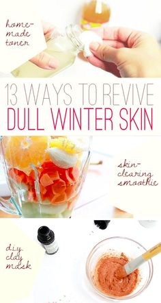 Winter can cause a lot of damage to our skin, but it can all be taken care of with these great tips and DIY remedies! A chamomile face mask to an all-natural toner to balance things out can be found on this list: http://www.ehow.com/how_12343167_ways-beat-dull-dry-winter-skin.html?utm_source=pinterest.com&utm_medium=referral&utm_content=freestyle&utm_campaign=fanpage