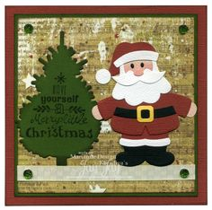 Marianne Design Collectables Santa (COL1391), Creatables Pine Trees Set (LR0370), Clear Stamps Eline's Handlettering Christmas (EC0156), Pretty Papers Bloc Victorian Christmas, Diamond Gems Red & Green (JU0954), Victorian Christmas Ribbon (JU0951)