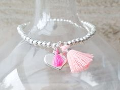 Armband van verzilverde kralen in Ibiza Style