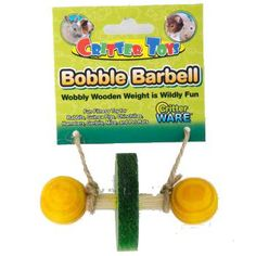 Ware Bobble Barbell is a wobbly wooden weight that is wildly fun for small pets.  The fun fitness toy encourages exercise and stimulating play to enhance pets' lives.  Wood material is 100% safe to chew.