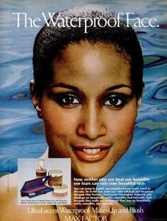 "Beverly Johnson in a Max Factor advertisement. She has a new show, ""Beverly's Full House,"" coming up on Oprah's OWN on March Vintage Black Glamour, Vintage Beauty, Beauty Ad, Hair Beauty, Beauty Products, Timeless Beauty, Hair Products, Vintage Advertisements, Vintage Ads"