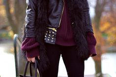 Fur, leather and knit.