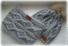 Купить или заказать Зимний набор в интернет магазине на Ярмарке Мастеров. С доставкой по России и СНГ. Срок изготовления: 3-4 дня. Материалы: шерсть, кашемир. Размер: ог 53-57 см Baby Hats Knitting, Baby Knitting Patterns, Knitting Stitches, Knitted Hats, Knit Beanie Hat, Crochet Beanie, Crochet Baby, Knit Crochet, Beanies