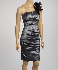 Take a look at this Betsy & Adam Pewter Ruched Asymmetrical Dress on zulily today!
