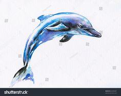Illustrazione stock 64383481 a tema Jumping Blue Dolphin Watercolor Painted Dolphins Tattoo, Whale Tattoos, Body Art Tattoos, Beach Tattoos, Tatoos, Killer Whale Tattoo, Cobra Art, Dolphin Art, Sister Tattoos