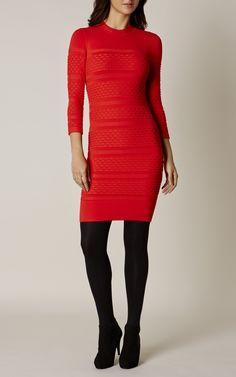 Karen Millen, TEXTURED KNIT DRESS Red
