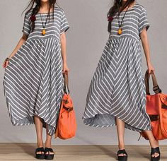 cotton Casual Long dress-shirt Blouse Striped dress skirt dress / loose casual woman long dress (412) on Etsy, $75.99