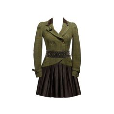 Great-Sommelier's Premade Outfit - green blazer skirt dress tweed... ❤ liked on Polyvore featuring dresses, outfits and premades