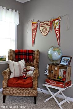 Sitting Corner of boys vintage sports room. Nearly EVERYTHING was thrifted! | Something to be Found