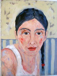 Porträt auf Rohleinen / Anneliese von mARTina haussmann auf DaWanda.com