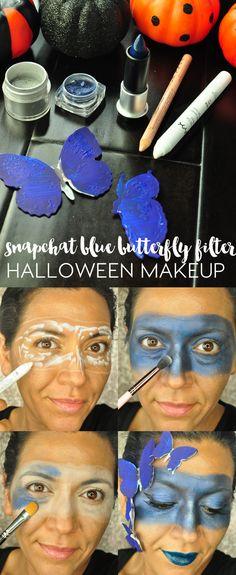 painted-ladies-snapchat-blue-butterfly-filter-halloween-makeup-tutorial Painted Ladies, Blue Butterfly, Woman Painting, Halloween Makeup, Filters, Snapchat, Creepy Stuff, Lady, Makeup Ideas