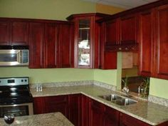 Red Cherry Shaker Kitchen Cabinets