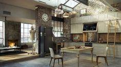 Cuisine industrielle avec toit en verre