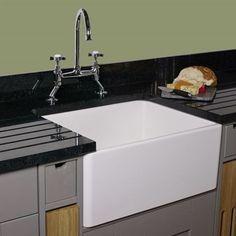 Reginox Contemporary White Ceramic Belfast Kitchen Sink - 595 x Ceramic Kitchen Sinks, Small Kitchen Sink, Kitchen Sink Design, Kitchen Taps, Contemporary Kitchen Sinks, Contemporary Design, Draining Board, Belfast Sink, Shower Fittings