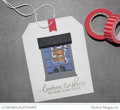 Card by Nichol Magouirk  (110615)  https://www.youtube.com/watch?v=2wXIih1Uiq8&feature=youtu.be  [Mama Elephant (dies) Reindeer Games, Tags A LotWindow Watching; (stamps) Jingle Greetings, Reindeer Games, Twinkle Towns]