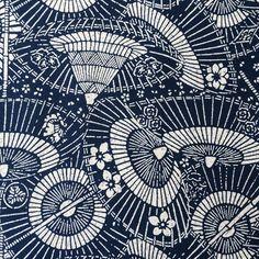 Japanese Indigo Parasols Umbrellas  Bangasa Wagasa 番傘 katagami woodblock batik print yardage from Trans Pacific Textiles