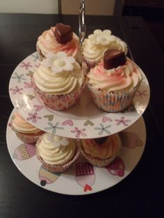 Lemon curd and Strawberry and champagne jam filled cupcakes