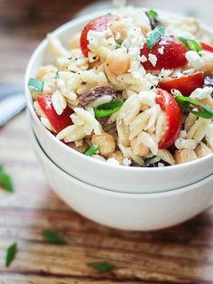 11 Pasta Salad Recipes You Need in Your Life this Summer | MEDITERRANEAN | Between the orzo, Kalamata olives, chickpeas and feta, we have a hard time deciding which ingredient is our absolute favorite.Get the recipe HERE.