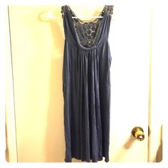 Pale blue flowy cotton dress racerback Used condition, no tears or stains. The knitted detail on the racerback part is cool (see last pic). Length is just above the knees for me (I'm 5'3). Forever 21 Dresses Midi