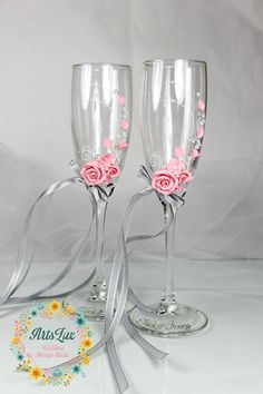 Pink&Grey wedding champagne glasses with a beautiful от ArtsLux