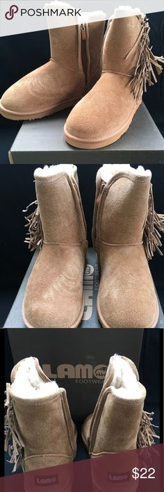 LAMO Sellas Chestnut Suede Boot, big kid size 4 New with Tags LAMO kids boot. Sheepskin on the inside and chestnut color suede on the outside. Adorable fringe and convenient zipper. Youth size 4. They fit snug so if your kiddo wears a 2 or 3 these will be comfy and perfect. Lamo Shoes Boots