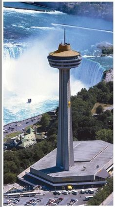 "Skylon Tower, Niagara Falls. The upper deck hosts an impressive view of the Falls. There's also a very expensive restaurant set in a ""revolving dining room"" that can be accessed as well."