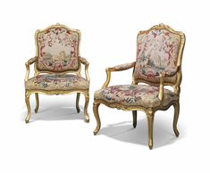 date unspecified A PAIR OF LOUIS XV GILTWOOD FAUTEUILS À LA REINE BY JACQUES PIERRE LETELIER, MID-18TH CENTURY Price realised GBP 5,625