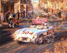 """Targa Florio 1955"" — Stirling Moss (Mercedes 300SLR), Eugenio Castellotti (Ferrari 860 Monza) and Juan Manuel Fangio (Mercedes 300SLR.) By Alfredo De La Maria"