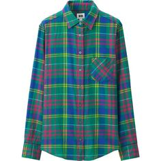 UNIQLO Women Flannel Long Sleeve Shirt (330 MXN) ❤ liked on Polyvore featuring tops, green, green flannel shirt, layered tops, blue checkered shirt, green top and long sleeve tops