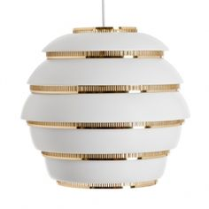 Scandinavian Modern Alvar Aalto for Artek 'Beehive' White and Brass Pendant Light Brass Pendant Light, Chandelier Pendant Lights, Modern Chandelier, Pendant Lamp, Alvar Aalto, White Polish, Selling Furniture, Diffused Light, Scandinavian Modern