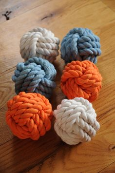 Handmade I made these knots using 1/2 cotton rope, in these pictures there are 2 aqua blue knots, 2 orange knots and 2 white knots. You can mix and match ANY colors that I offer. Just let me know what colors you would like to put together and I will make it happen. They are soft to touch and all measure approx. 4 inches in diameter. These are not dyed cotton but made from a mill. I can make any color combinations you can think of, just convo me to see what I have. Bowl is not included si...