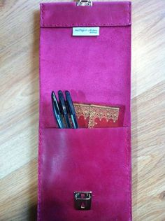 Slimline pink leather pencil case £16.49