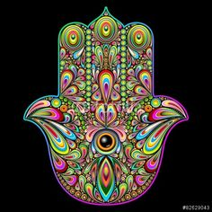 NEW #Vector #Graphics on #Fotolia > #Hamsa #Hand #Psychedelic #Art - Copyright © #BluedarkArt