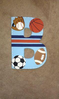 sports themed nursery wall letters boy baseball soccer football basketball wall art decor, $20.0