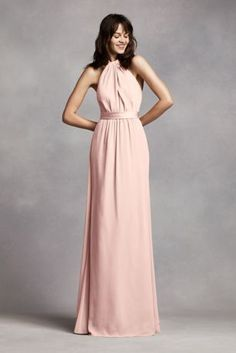 V Neck Halter Gown with Sash Style VW360214   Bridesmaid dress     Long Crinkle Chiffon Halter Dress VW360197