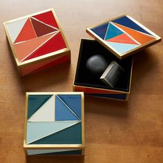 Stash your keys or other small knickknacks in this Graphic Enamel Tile Box. Its glossy finish, gold rim and fun colors make it a great addition atop entryway consoles or desks. Jewelry Storage Solutions, Jewellery Storage, Furniture Sale, Home Decor Furniture, Palette, Decorative Accessories, Home Accessories, Pantone, Wedding Color Pallet