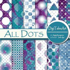 """Colorful watercolor digital paper pack """"All Dots"""" by DigiTalesArt in purple, blue, ocean green and white colors. Perfect for scrapbooking, making cards, invitations, collages, crafts, web graphics, and so much more."""