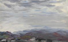 Jack Butler Yeats (Irish, The Tops of the Mountains, Oil on panel, 9 x 14 in. Irish Painters, Jack B, Irish Art, Landscape Paintings, Landscapes, Travel Posters, Contemporary Artists, Butler, Sky