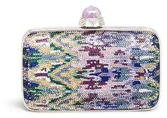 Love the colors in this clutch JUDITH LEIBER 'Canggu' stone clasp crystal pavé minaudière