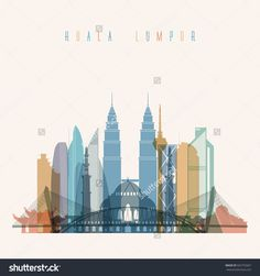 Transparent styled Kuala Lumpur skyline detailed silhouette. Trendy vector illustration.