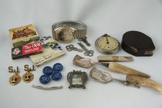 Vintage Junk Drawer Lot of Collectibles Pocket Watch Tape Measure Spoons Keys