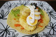 Tacos c/ frango e ovo cozido
