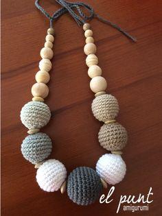 Crochet Beaded Necklace, Crochet Keychain, Fabric Necklace, Bead Crochet, Mommy Necklace, Nursing Necklace, Teething Necklace, Chunky Jewelry, Diy Jewelry