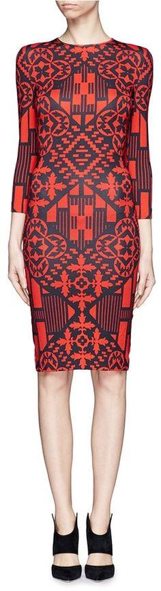 Alexander McQueen Patchwork print stretch jersey dress on shopstyle.com.au